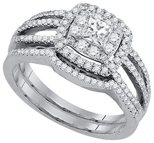rings-midwestjewellery. COM Damen 14K Weiß Gold Hochzeit Set Prinzessin Cut Solitaire Center 0,89Karat Diamanten Vintage 2pc