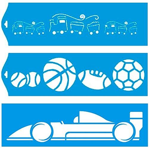 Preisvergleich Produktbild (Satz von 3) 28cm x 8cm Flexibel Kunststoff Universal Schablone - Wand Airbrush Möbel Textil Decor Dekorative Muster Design Kunst Handwerk Zeichenschablone Wandschablone - Spielzeugzug Auto Ball