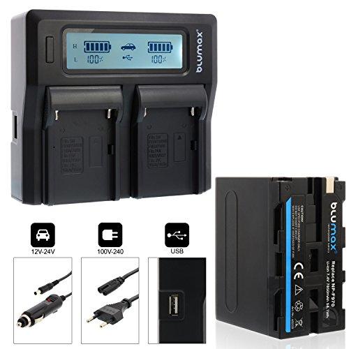 Blumax Akku NP-F970 / NP-F960 mit LG Zellen 7850mAh + Doppelladegerät NP-F970 / Np-F960 Dual Charger | passend zu Sony NP-F970 NP-F960 NP-F990 NP-F550 NP-F750 || 2 Akkus gleichzeitig Laden