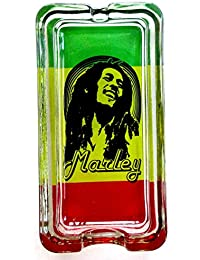 Bob Marley sonriente marihuana Weed cenicero de cristal