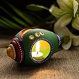 ExclusiveLane Hand-Painted Shankh Shaped Terracotta Table Decorative Tea Light Holder (Green)