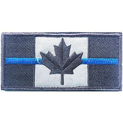 Bandera Nacional Remiendo de la divisa bordada nueva bandera de Canadá Parches Ejército 3D tácticos Parches militares de la tela del brazal de la línea Blue Badge