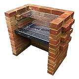 SunshineBBQs DIY Ziegel-Grill-Set mit robustem Holzkohlerost und Edelstahl-Grills – 67 cm x 40 cm