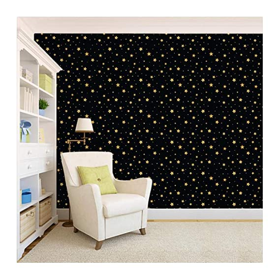 100Yellow? Golden Star Pattern Self Adhesive Peel & Stick Waterproof Wallpaper-26.7 Sqft