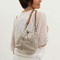 Bombonera pequeña de lino natural para mujer - Mini bolso de verano