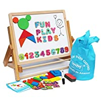 Toys of Wood Oxford Wooden Easel for Children Foldable Double Magnetic Boards Magnetic Shapes Letters Numbers and Paper roll kids art easel -Table Top magnetic board for kids