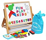 Wooden Easel for Children Foldable Double Magnetic Boards Magnetic Shapes Alphabet Numbers