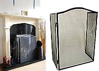 New Traditional Black Mesh Steel Folding Fire Screen Guard Gas Electric Coal