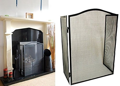 traditional-black-mesh-steel-folding-fire-screen-guard-gas-electric-coal