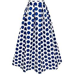 iEFiEL Maxifalda Plisada de Cintura Alta Faldas Largas Elegantes Lunares Grandes para Mujer Azul Oscuro L