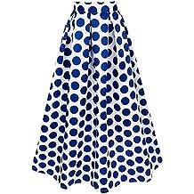 iEFiEL Maxifalda Plisada de Cintura Alta Faldas Largas Elegantes Lunares Grandes para Mujer