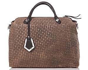 italienische Damen Handtasche Kingston aus echtem Leder in cappuccino und schoko braun, Made in Italy, Shopper Bag 37x30 cm