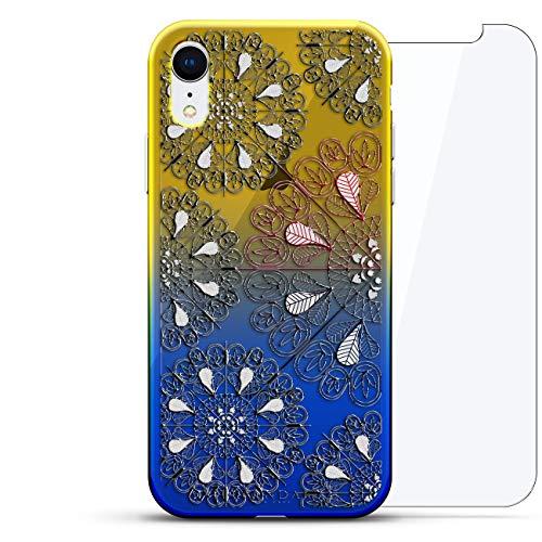 Luxendary Designer Schutzhülle für iPhone XR, 3D-Druck, modisch, hochwertig, Chamäleon-Effekt, 360 schützendes Glas, Dämmerungsblau Tamara, Ornament: Mandala-Kreise, Blau (Dusk Blue) -