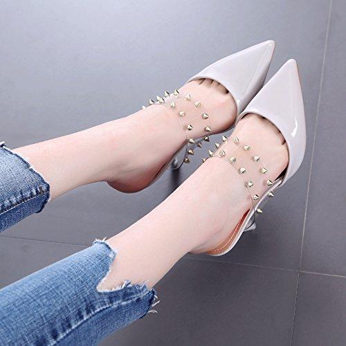 A punta con tacco alto sandali tacco Belle fredda Mop moda Rivet Trasparente un tono semi pistoni freddi Femminile gray
