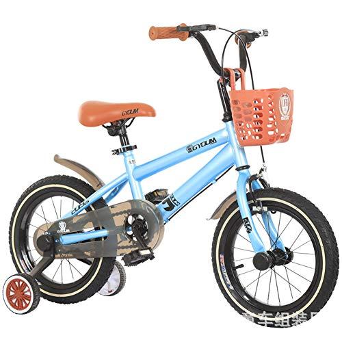 1-1 12 Zoll Kinder Fahrrad, Jungs Mädchen Draussen Reiten Kinder Spielzeug Verstellbare Höhe Doppelbremse Rutschfest Sicherheit,Blue