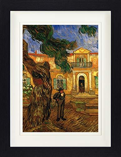 1art1 Vincent Van Gogh - Pinie Und Figur Vor Dem Hospital Saint-Paul, 1889 Gerahmtes Poster Für Fans Und Sammler 40 x 30 cm