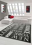 Traum Teppich Modern Flachgewebe Städte Sisal Optik Küchenteppich Küchenläufer City Schwarz Weiss Größe 80x150 cm