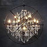 Die beleuchtung Hängeleuchte Kronleuchter Lampe Restaurant Café Retro Bar Global Kerze Kronleuchter Kristall Anhänger Vogelkäfig E14 Lampenfassung Innenbeleuchtung (Farbe: Große 52 cm (6 Köpfe))