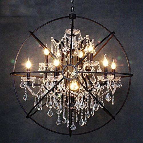 Die beleuchtung Hängeleuchte Kronleuchter Lampe Restaurant Café Retro Bar Global Kerze Kronleuchter Kristall Anhänger Vogelkäfig E14 Lampenfassung Innenbeleuchtung (Farbe: Große 52 cm (6 Köpfe)) (Alle Glas-kristall-kronleuchter)