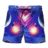 Herren 3D Sky Printed Shorts Hosen Strand Arbeit Lässige Männer Kurze Hosen GreatestPAK,Blau,L