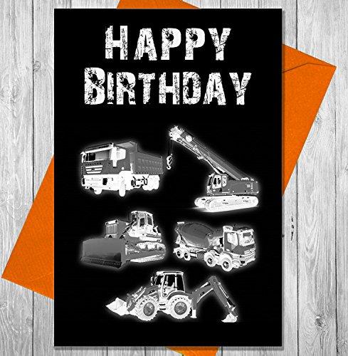 John Deere Scraper (Geburtstagskarte Baufahrzeuge–Einzigartiges Kreidetafel Effekt Grußkarte)