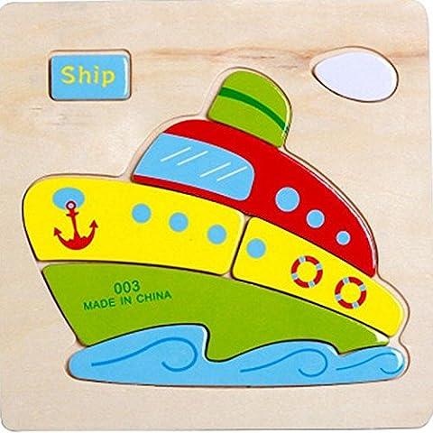 Merssavo 003 Crucero Juguetes Educativos de los Niños de Rompecabezas de Escenas de Animales Madera 3D