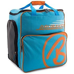 Brubaker Skischuhtasche Helmtasche Skischuhrucksack Super Champion Blau Orange – Limited Edition –