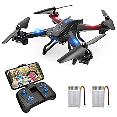 SNAPTAIN S5C Wifi FPV Drone with 720P HD Camera, Best Drone for Beginners with Altitude Hold, Voice Control, G-Sensor, Trajectory Flight, 3D Flips, Headless Mode, One Key Operation, 2 Batteries by Snaptain