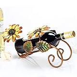 Support de vin d'art de fer de tournesol européen personnalité titulaire de stockage de vin support de support ornements décoratifs for la décoration intérieure, bar, cave à vin, armoire, office