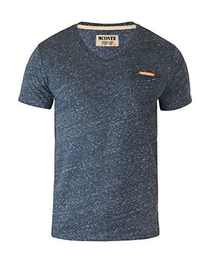 Blaues T-shirt Tasche (M.Conte Herren Fitness T-Shirt Sportstyle Kurzarm Tee Stickerei Logo V-Kragen mit Brust Tasche Grau Schwarz Marine Navy Hell Blau M L XL XXL Carl Schwarz Black XL)