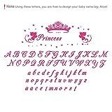 decalmile Adesivo da Parete con Nome Personalizzato Princess Crown Il Tuo Nome Bambino Desiderato Adesivi Murali per Camere Ragazze