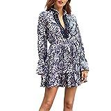 B-commerce 2019 Wickelkleider für Damen - Damen Langarm V-Ausschnitt Patchwork Leopard Print Flare Sleeve Loses Kleid