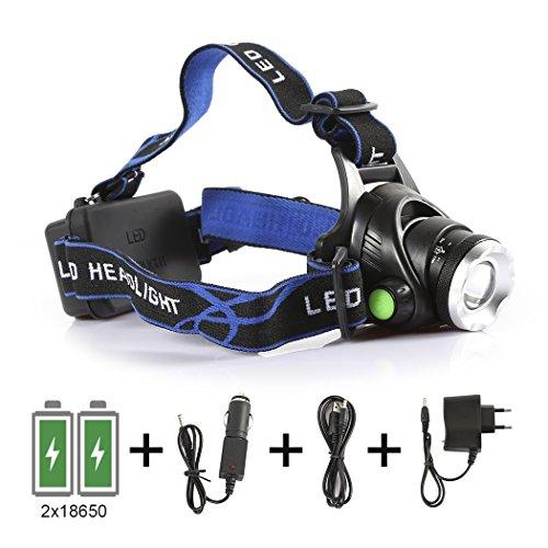 B-right dimmbar hell LED Stirnlampe, 3 Modi LED Kopflampen, Aluminium LED Kopflampe 1200 Lumen, 3 Helligkeiten zu wahlen,Wasserdicht Stirnleuchten, LED Kopflampe, Kopfleuchten, Fahrrad Lampen