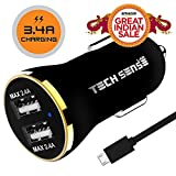 #8: Tech Sense Lab Ce & Fcc Certified, 3.4A Dual Usb Fast Car Charger Includes 1 Micros Usb Cable Rated At 480Mbps (Black N Gold)
