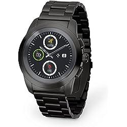 MyKronoz ZeTime Elite Reloj Inteligente híbrido con Agujas mecánicas sobre una Pantalla a Color táctil – Regular Cepillado Negro/Metal Link