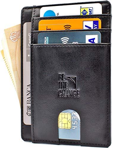 24f8d6a08b Portafoglio Uomo Piccolo Sottile - Mini Porta Carte Credito Uomo Pelle con  Protezione RFID e Tasca