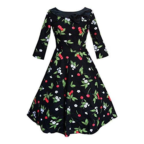 Milk Moon Damenkleid im Vintage-Design Gr. 52, Black with Cherry Print (Der An Rückseite-print-rock Reißverschluss Mit)