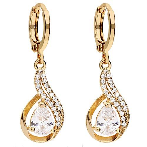 MYA art Premium Damen Goldene Creolen Titan Ohrringe Hängend Ohrhänger Tropfen-Anhänger mit Zirkonia Stein Gold Vergoldet Gelbgold Weiß MYAGOOHR-35