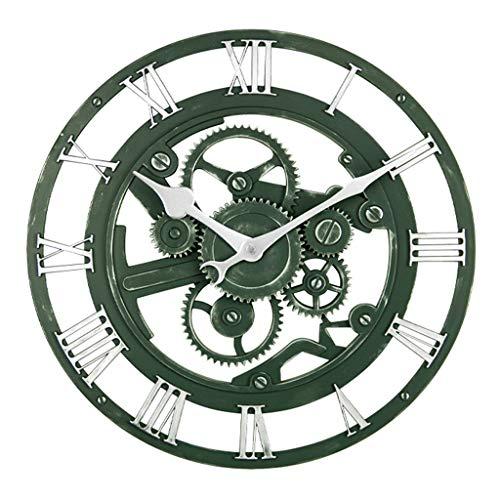 W-xiao uhr Runde Wanduhr/röm. Ziffer Wanduhr, Retro kreative Hohlraduhr, geeignet für Wohnzimmer, Bar, Restaurant (Durchmesser 35,5 cm)