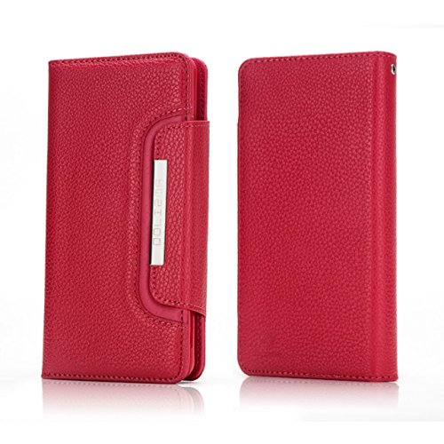 EKINHUI Case Cover Abnehmbare 2 in 1 Style PU Ledertasche Solid Color Litchi Skin Brieftasche Beutel Shell Cover für iPhone 7 Plus ( Color : Purple ) Red