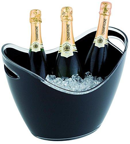 APS Wein und Sekt Flaschenkühler 6 Liter in schwarz, 35 x 27cm, Höhe 25,5 cm, mit 2 seitlichen...