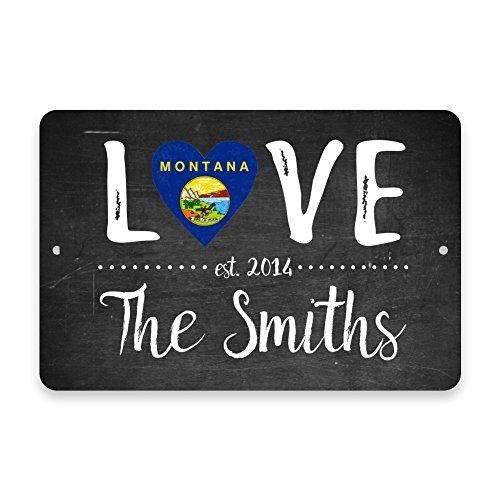 Zimmer Türschild Persönliche Kreidetafel Montana Love State Flagge mit Family Name Metall Tür Deko UV-geschützt & Wasserdicht Plaque -