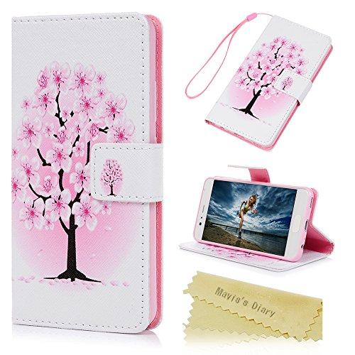 Mavis's Diary Case für Huawei P10 PU Leder (TPU innere Schicht) mit Kreditkarteninhaber Kippständer Magnetverschlus Tasche Flipcase Bunte Aufdruck Muster Blumen Bumper Handyhülle Pflaumenbaum