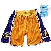 EWDS Pantalones de Bola Bordados de los Lakers Pantalones Cortos de Malla Retro James Suaves y cómodos Se Pueden Lavar repetidamente (S-2XL)
