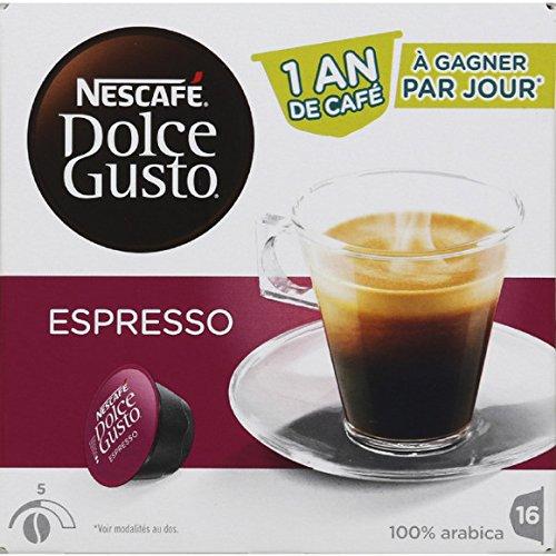 Dolce Gusto Dosettes de café moulu pur arabica, Espresso Les 16 dosettes, 96g Prix Unitaire - Envoi Rapide et Soignée