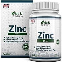 ZINC 40 mg | Zinc Gluconate | Cure de 12 Mois/365 Comprimés | 1 Comprimé Facile à Avaler Par Jour | Compléments alimentaires de Nu U Nutrition