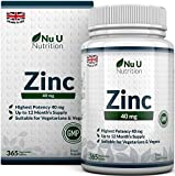 ZINC Tablets 40mg, 365 Tablets (12 Month's Supply), 1 Easy to Swallow Zinc Gluconate Tablet Per Day by Nu U Nutrition
