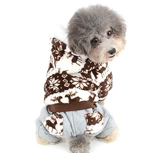 Ranphy Kleine Hunde Fleece Mantel, Warm Winter Pet, Hoodie, Schneeflocke Rentier Muster Outfits, kaltem Wetter Mantel mit Kapuze Hose, Puppy Weihnachts Kostüme Weihnachten (Pyjama-hose Snap)