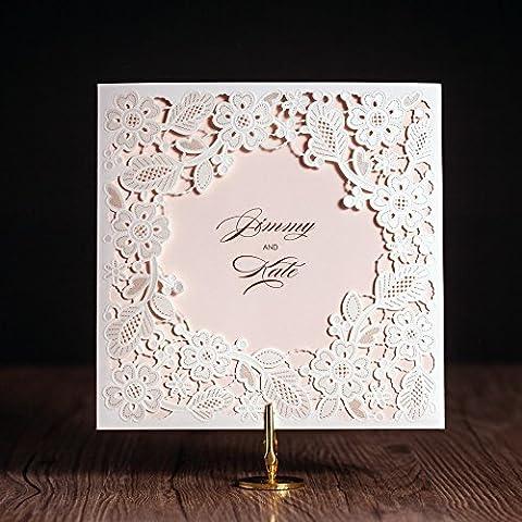 20 X bianca con motivo floreale a taglio Laser, motivo: Wedding Invitation Cards, con inserto coordinato di seal envelop//
