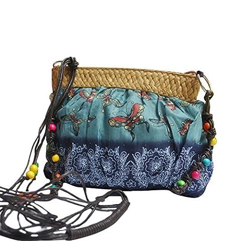 meizu88 Fashion Women Boho Beach Crossbody Bag Purse Cloth Shoulder Bags (Blue)